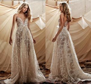 2021 Berta Princess Wedding Dresses Sexy V-neck 3D Floral Lace Beaded Zipper Sheer Back Outdoor Casual Wedding Gown Robe de mariée