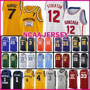 tkm Gonzaga dogos de la escuela John Stockton 12 NCAA Baloncesto Jersey Jugoplastika de Split Kukoc Pop Película Toni 7 Chris Webber 4 Wolverines