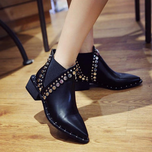 Rivets Faux Leather Booties Sequin Thick Heel Black Ankle Women Boots Studded Decorated Woman Boots Motorcycle Size 35-40