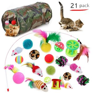 21 20pcs Cat Toys Set Foldable Cat Tunnel Funny Play Stick Bell Ball Feather Toy Assorted Interactive Toys For Cats Kitten