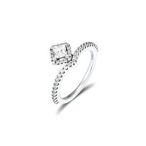 Praça Jóia Sparkling Wishbone Anel de prata esterlina 925 do sexo feminino para mulheres Moda anéis de casamento jóias de estilo presentes de uma menina