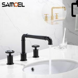 Pont-monté noir mat industriel style Séparés à trois trous double poignée d'or de bain bassin robinet d'évier eau mitigeur B3396