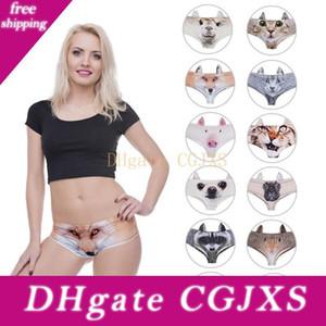 Drôle 3D Imprimer Sexy Lingerie Femme Slip Kawaii Pig Puppy Dog Cat Oreilles Sous-vêtements pour femmes culottes mignonnes pour dame