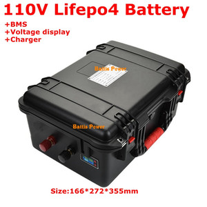 Waterproof Lifepo4 110V 15Ah 20Ah Lithium Battery Pack 36S BMS for backup power Forklift +3A Charger