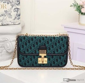 2020 New Hot Sale Presby Canvas Chain Bag Blue Print Flap Bag Letter Lock Women's Hottest Shoulder Crossbody Bag Gold Metal Accessories