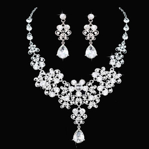Cheap In Stock Crystal Bridal Jewelry Set Drop plated necklace earrings Wedding jewelry sets for bride Bridesmaids women Bridal Accessories
