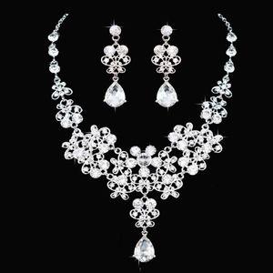 Günstige Im Lager Kristall Brautschmuck Tropfen überzog Halskette Ohrringe Hochzeit Schmuck-Sets für Brautbrautjunfern Frauen Braut-Accessoires