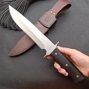 Deri Kılıf ile Yüksek Kalite Brend Survival Düz Bıçak DC53 Saten Damlama Noktası Blade Tam Tang G10 Kol Açık Av Bıçakları