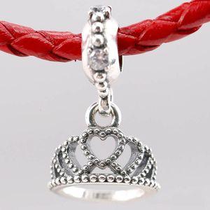 Original Love Heart My Princess Tiara Royal Crown Pendentif Perle Fit argent 925 Charm Pandora Bracelet bricolage Bijoux