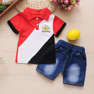 2020 Summer Toddler Baby Boys Clothes 2pcs Outfit Kids Clothes Short Sleeve T-shirt+ Jeans Suit For Boys Clothing