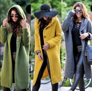 Hırka Bayan Uzun Kol Kapşonlu kaşmir kazak Kadınlar Kış 2020 Örme Triko Kadın Kadın Pocket Hırka Bayan