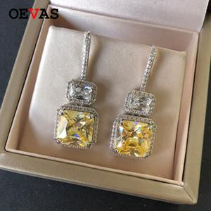 OEVAS de lujo de moda famosa del diseño espumoso 3A circonio cúbico mujeres cuelga los pendientes para la boda borla Pendientes Pendientes Mujer 200922