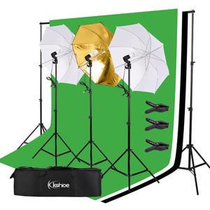 Background 45W Photography Studio Backdrop Softbox Umbrella Continuous Lighting Kit Soft Light Umbrella Background Frame Set with 3 Lights