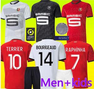 20 21 Rennes jérsei de futebol 2020 2021 28 Raphinha Niang Terrier J.MARTIN Stade Rennais FC Bourigeaud camisas homens crianças kit casa do futebol de distância