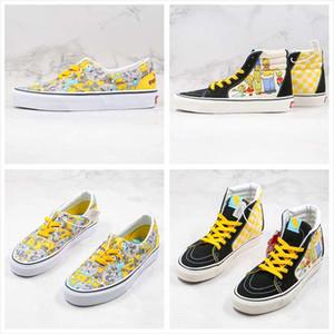 2020 Yeni Tuval Ayakkabı Simpsons Çizgi Graffiti Anime SK8 Sarı Siyah Erkekler Kadınlar Yüksek üst Düşük üst Casual Kaykay Ayakkabı