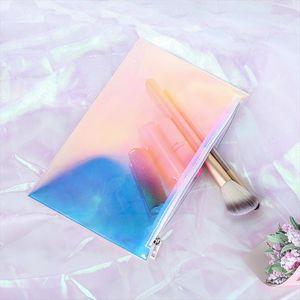 TPU прозрачный путешествия косметический случай Очистить Косметическая сумка с молнией голографических для макияжа кисти губной помады сумка Организатор