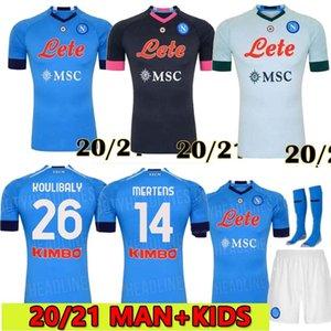 2020 2021 دوري الدرجة الاولى الايطالي نابولي نابولي الرئيسية لكرة القدم بالقميص الأزرق نابولي لكرة القدم الفانيلة قميص للرجال 19 20 بالقميص هامسيك لاعب نابولي L.INSIGNE