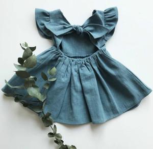 Baby Kleider Kleider Baumwolle Leinen Kleinkind Prinzessin Kleid Fliegende Hülse Kinder Kleider Zurück Bogen Kinder Kleid Sommer Baby Kleidung 4 Farben D5665