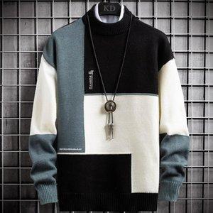 New Cashmere Inverno Quente Sweater Men Turtleneck Mens Pullover retalhos Slim Fit Camisolas Tops Natal Jumper de Homens de malha