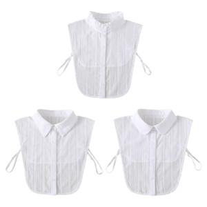 Women Jacquard Leaves Striped False Fake Collar Sweater Decorative White Lace Detachable Ruffles Lapel Half-Shirt Blouse Accesso