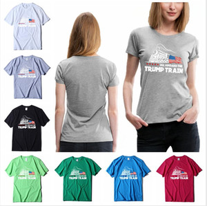 Trump T-shirt 2020 America Election Printed All Aboard the Trump Train Cotton Short Sleeve Casual Sports Summer Tops Tee Clothes LJJP396