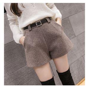 turn-up 2020 autunno e l'inverno delle donne diritte di lana bootcut pantaloni corti più grandi bicchierini casuali di grande dimensioni kaki nero WL1002