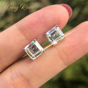 Wong pioggia Classic 100% sterlina del solido 925 Silver 7 * 7 MM Creato Ear Moissanite della pietra preziosa fissa gli orecchini Fine Jewelry all'ingrosso