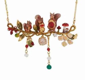 wholesale 2019 New Enamel Glaze Lovely Squirrel Flower Necklace Adjustable Ring earrings and bracelet women's002