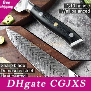 YKC Hot Damaskus Kochmesser VG10 Professionelle Küchenmesser Cleaver Kochen Werkzeug Exquisite Pflaume Rivet G10 Handgriff mit Messer Abdeckung