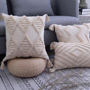 Püsküller Yastık Kapak 45x 45cm / 30x50cm Bej Yastık Kapak El yapımı Kare Ev Dekorasyon Odası Yatak Odası yaşamak için Aç Zip