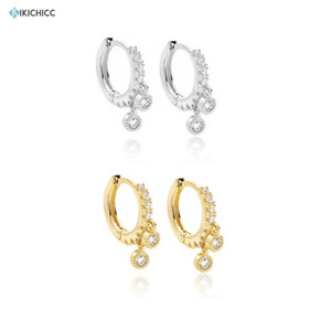 Kikichicc 925 Sterling Silver 8mm Pendientes CZ Drop Earring Huggies Crystal Circle Women Best Gift Statement Jewelry 200923