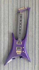 Seltene kundenspezifische abstrakte unternehmen gitarre neue römische abstrakt metallisch lila neck durch körper elektrische guitar gold hardware tremolo brücke