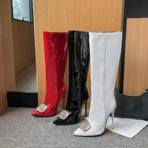 US4-13 Womens Pointy Toe Patent Leather Knee Thigh Boots Rhinestones Crystal Stilettos High Heel Shoes Riding Plus Size 3Colors