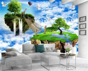 Custom 3d Landscape Wallpaper Heavenly Steps Waterfall Beautiful Landscape of Trees Premium Atmospheric Interior Decoration Wallpaper