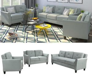 US STOCK rápido transporte Botão adornado 3 peça assento da cadeira Amor Sofa Set WY000048EAA