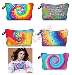 Mulheres Moda Maquiagem Bolsas tie-dye Letters Cosmetic Bag Clutch Bag Sacos de mão Bolsa de Senhoras de armazenamento de Higiene Pessoal Bolsa Bolsas 5 cores D81208