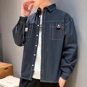 Botón de manga larga otoño del algodón flojo Harajuku estilo coreano Streetwear camisas ocasionales Camisas Ropa de DB60SH