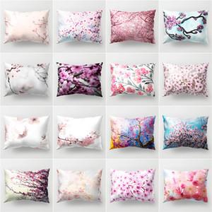 أفضل من جانب واحد غطاء كرسي الديكور غطاء البوليستر الطباعة وسادة 50x30cm مستطيلة وسادة أريكة المنزل الوردي زهرة وسادة