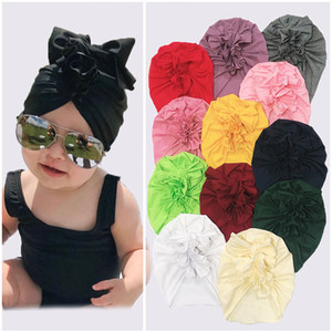 12 colors Cute Infant Toddler Unisex Knotted flower Indian Turban Kids Spring Autumn Bow Caps Baby twist Hat Solid Color Hairband Z1389