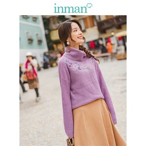 INMAN Winter Literary High Neck Drop-shoulder Sleeve Embroidery Loose Warm Women Pullover 0925