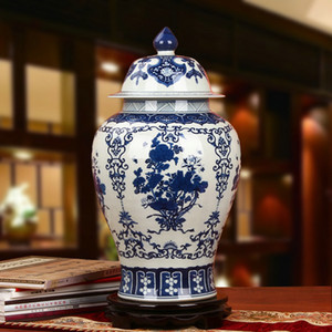 Cinese Riproduzione vaso di zenzero vaso di ceramica antica porcellana vasi del tempio decorazione della casa di grandi dimensioni blu e bianco vasi zenzero