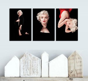 3 Panels Fashion Wall Art Star Portrait Oil Painting on Canvas Marilyn Monroe Poster & Prints Wall Picture Mural Modern Home Decor
