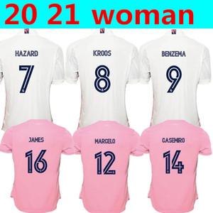 2021 New Real Madrid дом вдали Женщина Home # 7 ОПАСНОСТИ футбол Джерси 2019 Мадрид Asensio ISCO Кроос MARCELO девушка футбол рубашка равномерная