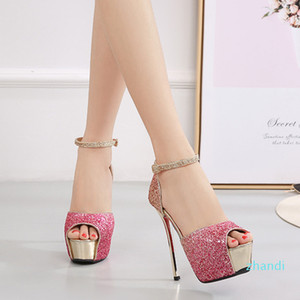 Hot sale-2020 New Woman Party Sequin Shoes Sexy Gradient Pink Peep Toe Stilleto Red Bottom High Heels 14cm Platform Women Pumps
