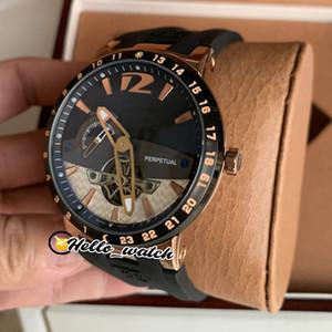 Специальное предложение Новый Executive El Toro Perpeual 320-00 Черный циферблат Tourbillon Автоматические мужские часы Rose Gold Case Резиновые часы Hello_Watch