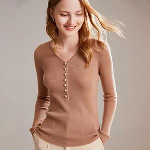 zocept 소모 하이 엔드 캐시미어 V 넥 스웨터 여성의 슬림 섹시한 2020 단색 풀오버