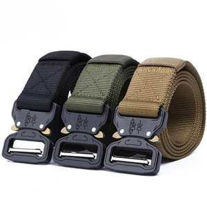 145CM Belt Tactical Army Belts Outdoor Nylon Adjustable Alloy Automatic Metal Buckle Black Hunting Belt
