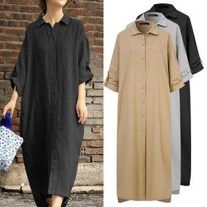캐주얼 드레스 Celmia 빈티지 긴 소매 사무실 드레스 여성 가을 리넨 Sundress 2021 패션 옷깃 느슨한 단단한 우아한 Vestidos 5XL