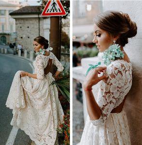 Bohemia rústico vestidos llenas del cordón espalda abierta de la boda vestido de novia con mangas de playa de Boho de la vendimia de novia Una línea más el tamaño de País