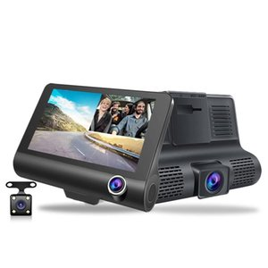 Vehicle-mounted 360-degree panoramic driving recorder 4 inch high-definition hidden three-lens three-recorder reversing image